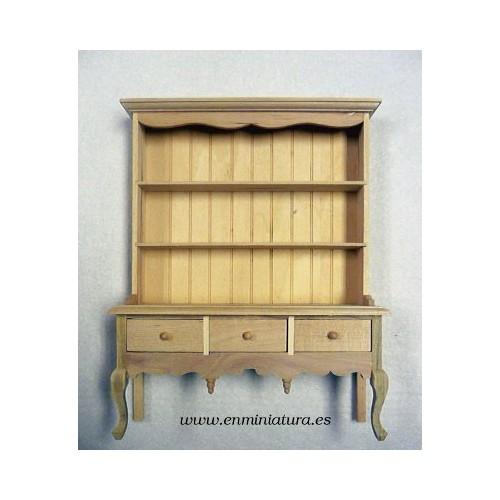 Alacena de madera sin pintar