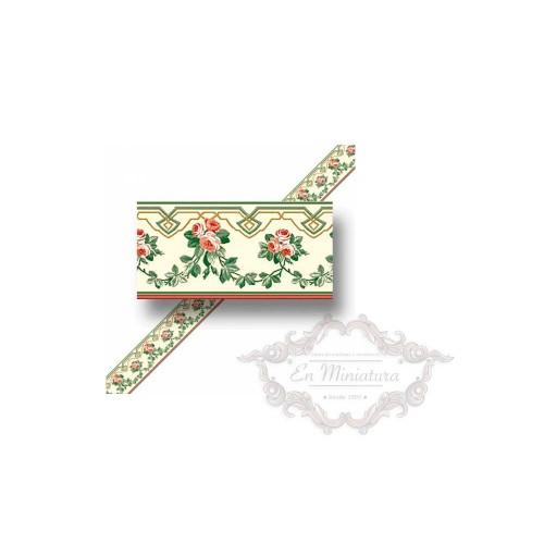 Cenefa de papel pintado, Rosas