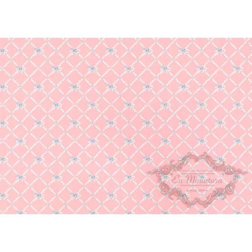 Papel pintado rosa lazos
