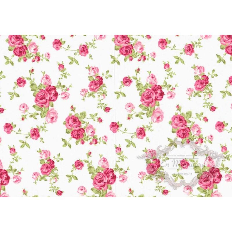 Tela blanca con rosas para decoracion de miniaturas