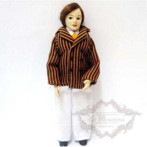 Muñeco chaqueta marrón a rayas
