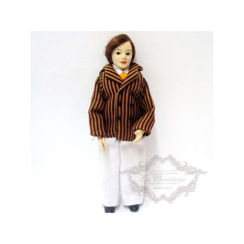 Muñeco chaqueta marrón a rayas de escenas
