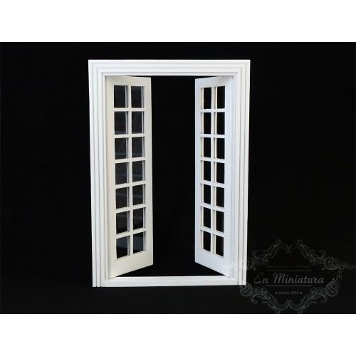 Puerta doble cristalera a cuadros blanca