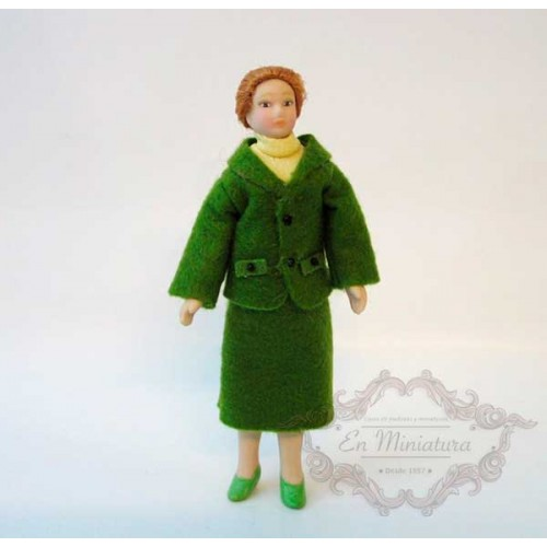 Doll, lady green suit