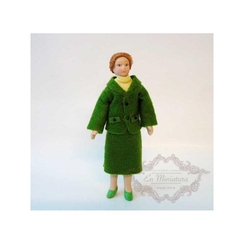 Muñeca, señora traje verde