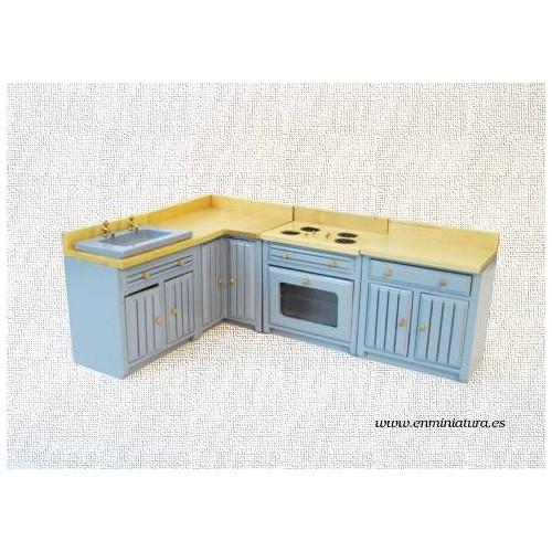 Cocina azul en módulos