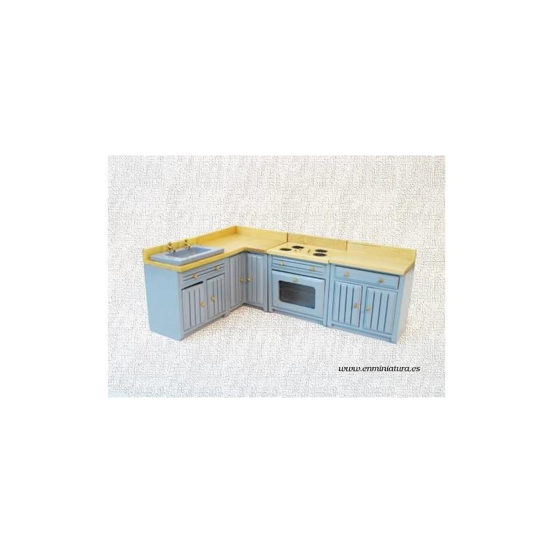 Comprar Online Cocina Azul En Módulos En Miniatura