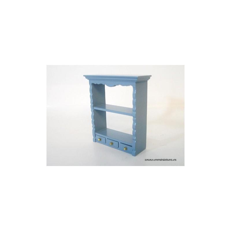 Estante azul con cajones