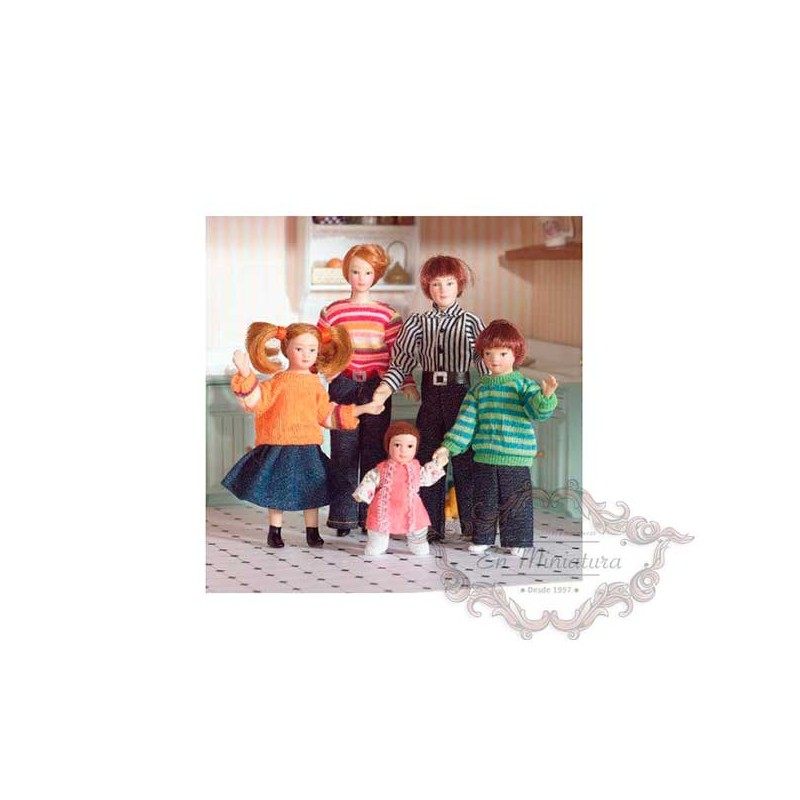 familia de muñecos para casas de muñecas, personajes en miniatura