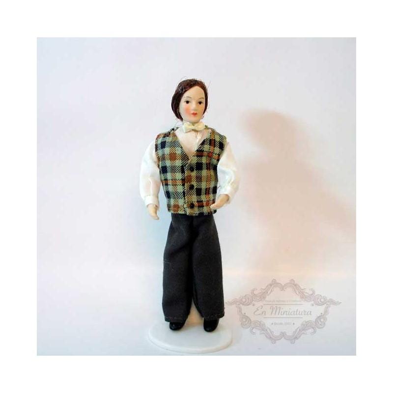 Muñeco porcelana, chaleco cuadros