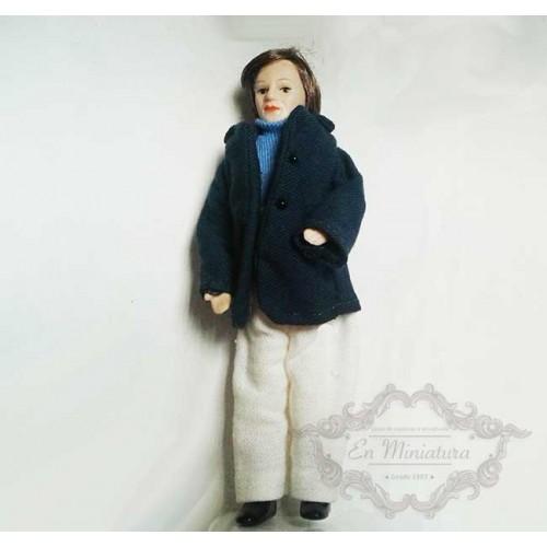 Muñeco de porcelana, chaqueta azul