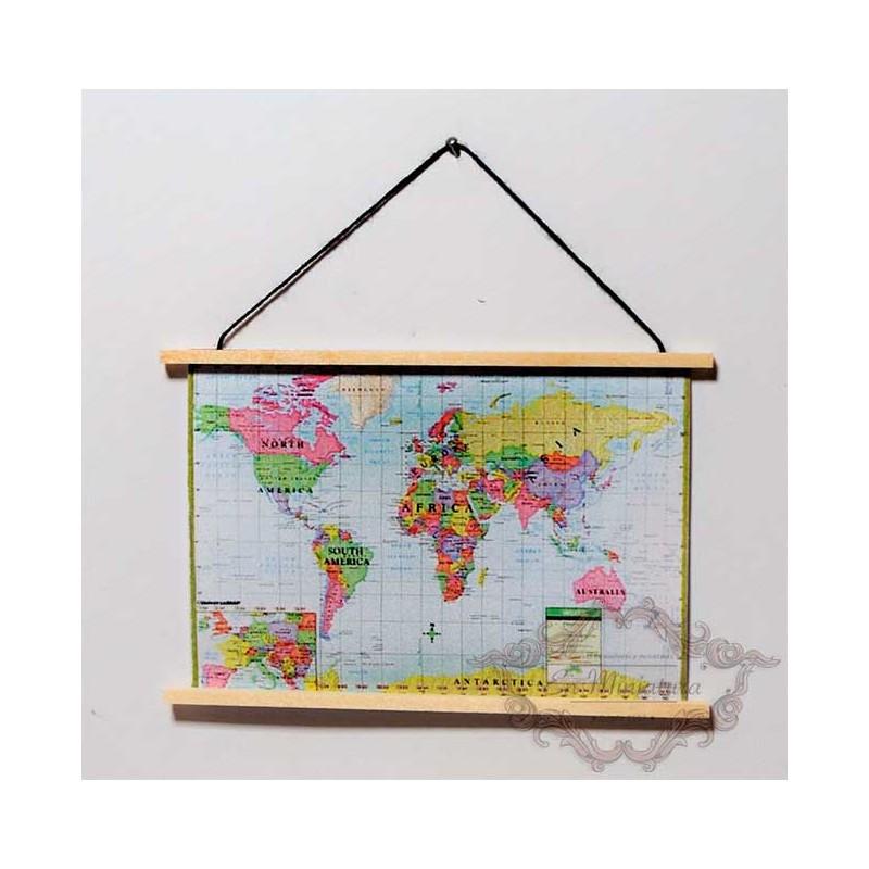 Mapa del mundo en miniatura para casas de muñecas