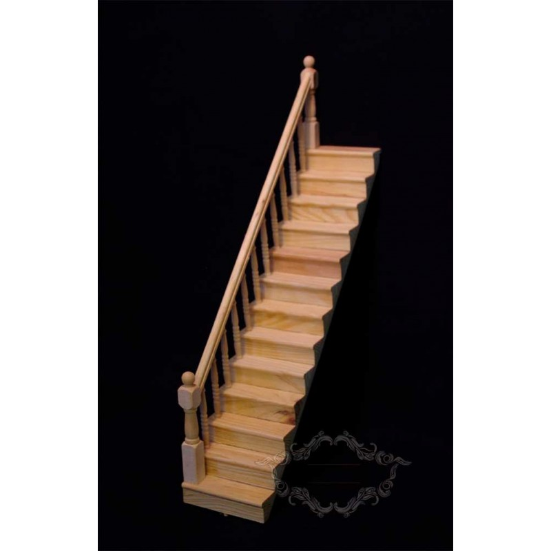 Tramo de escaleras para casas de muñecas en madera sin pintar