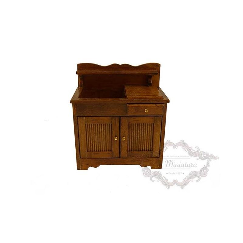 Mueble de cocina estilo rústico para escenas o casas de muñecas
