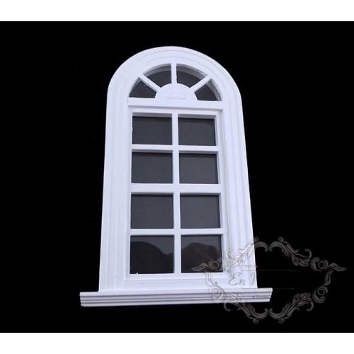 Ventana blanca de arco de casas de muñecas