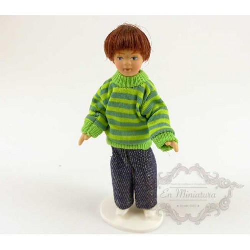 Boy doll with green sweater