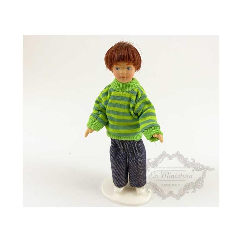 Muñeco niño con jersey de rayas para escenas o maquetas