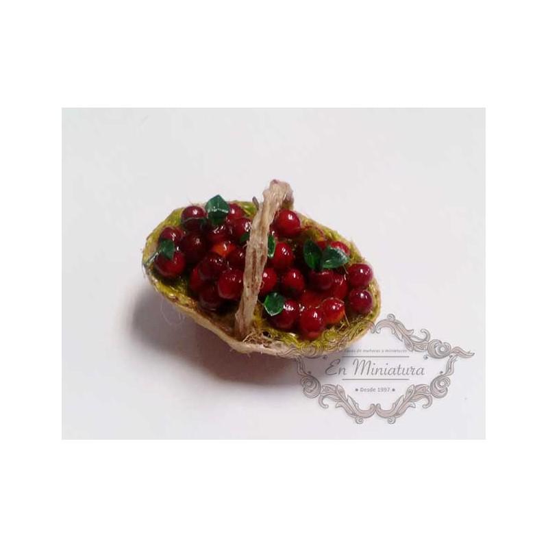 Cesta de cerezas, comida en miniatura