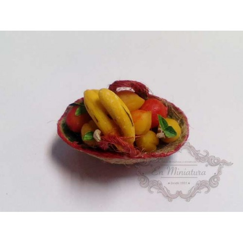 Basket of fruits with bananas