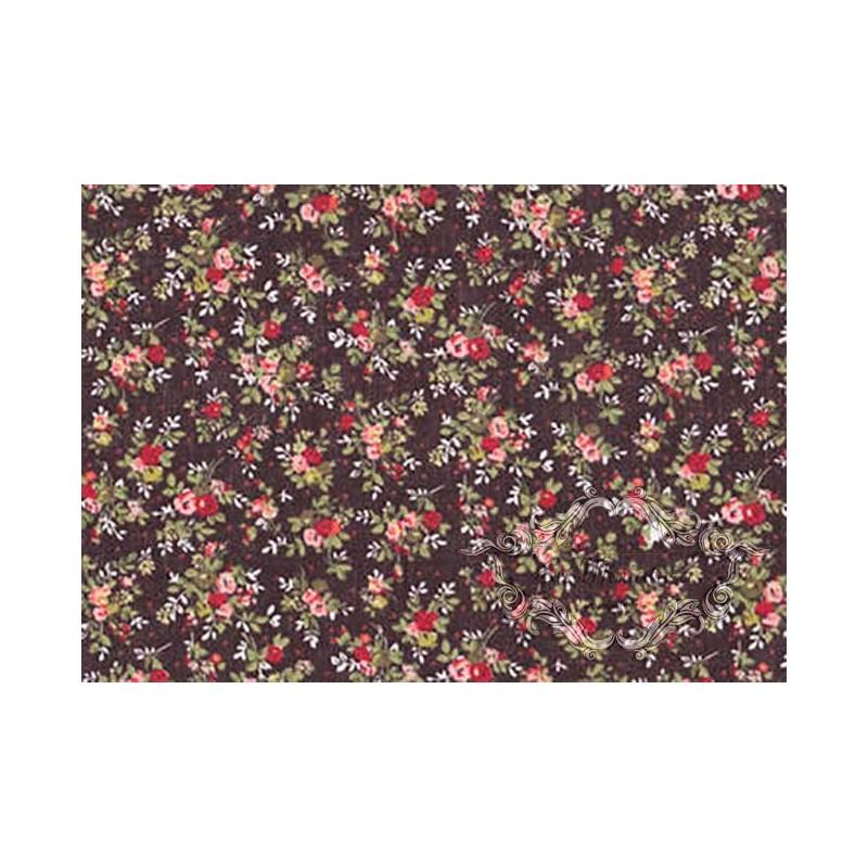 Tela Marrón Flores en miniatura