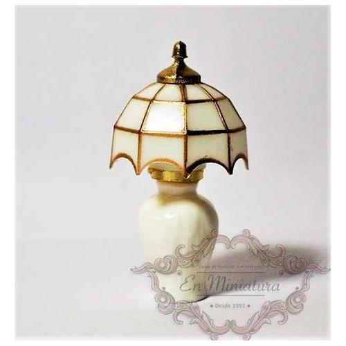 Lámpara de mesa sin luz, tiffany blanca