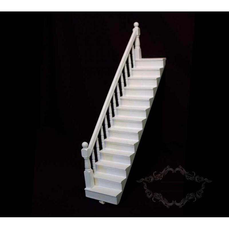 Tramo escalera lado izquierdo Blanco para casas de muñecas