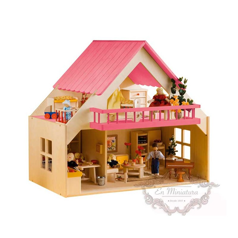 Wooden dollhouse, pink balcony