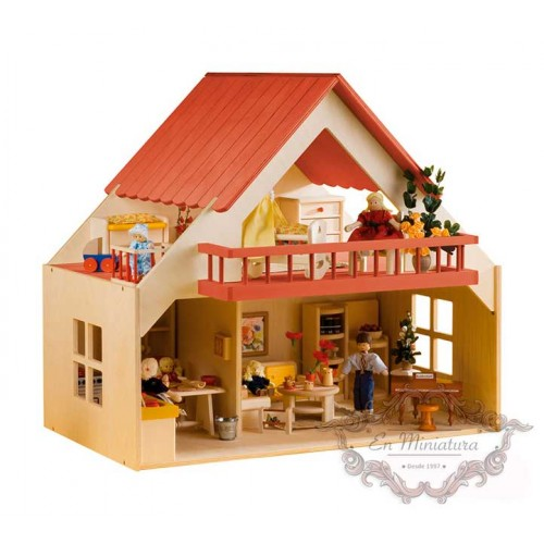 Wooden dollhouse, Red Balcony