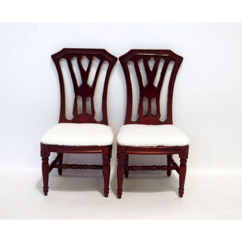 sillas caoba tapizadas blancas