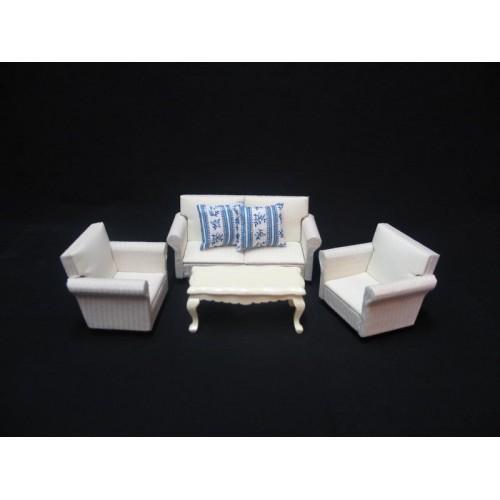 Conjunto de sillónes con mesa, marfil