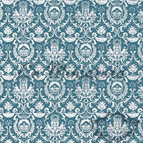 Fountain Motif Wallpaper Green-Blue