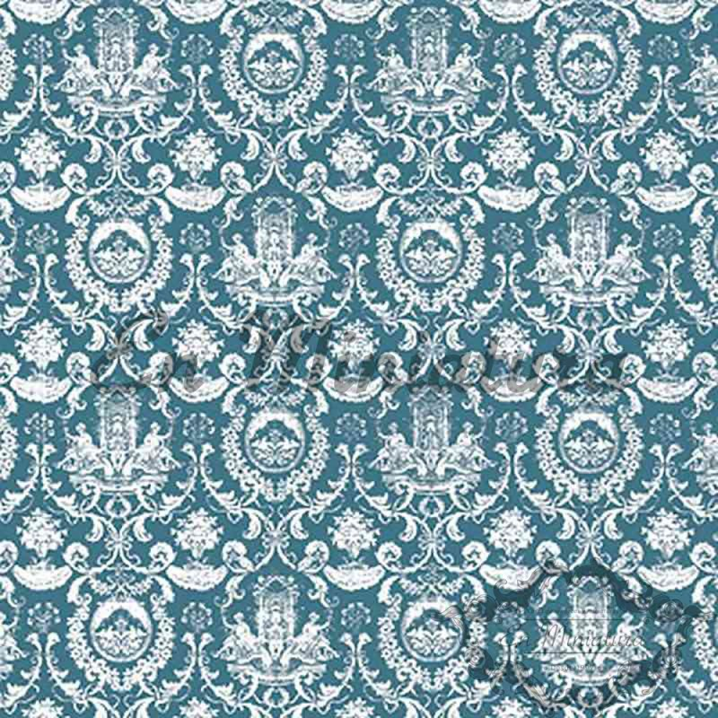 Fountain Motif Wallpaper Green-Blue