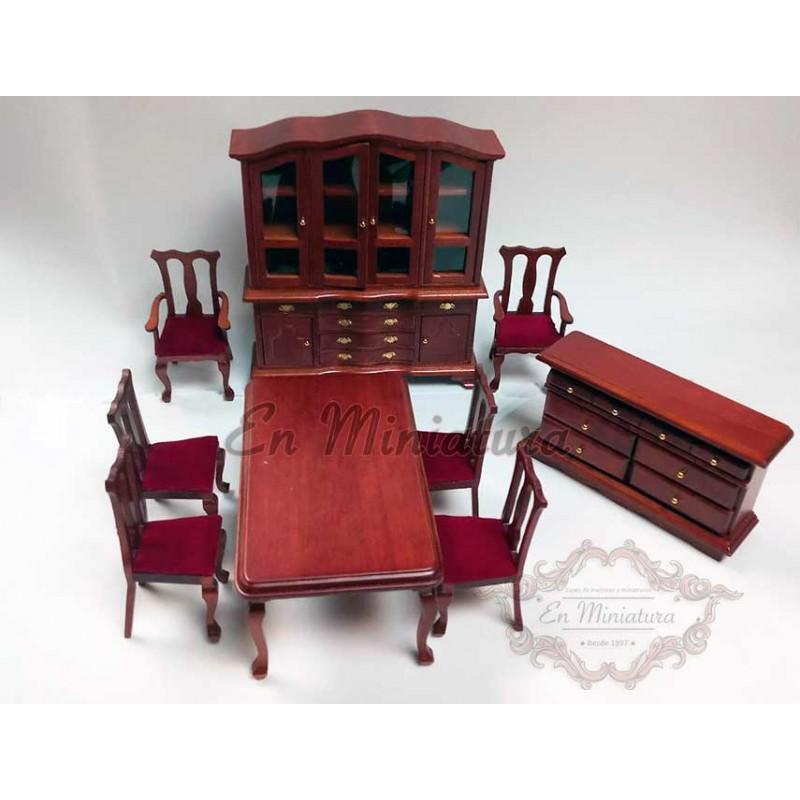 Conjunto de muebles de comedor para casas de muñecas, barato.