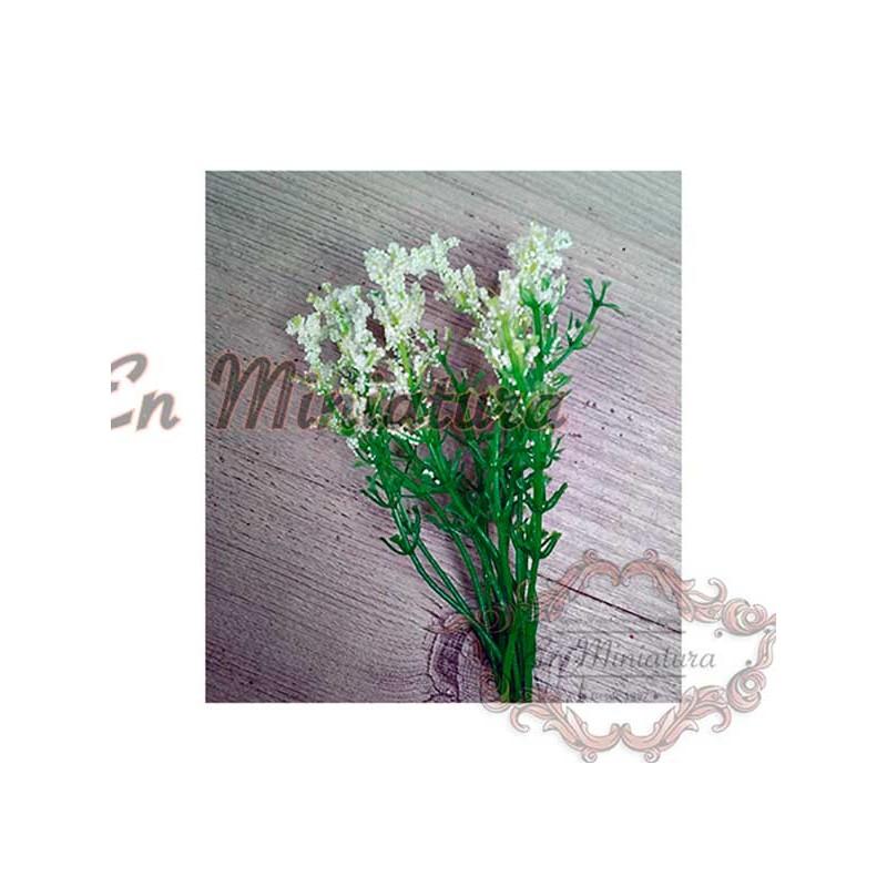 Rama de florecitas blancas para jardines en miniatura