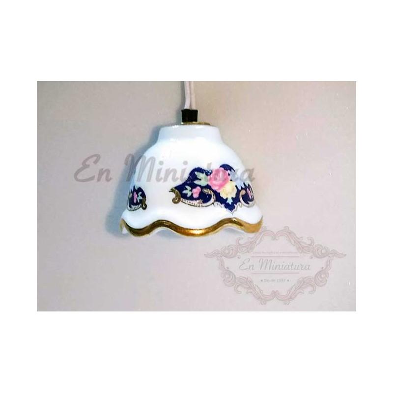 Blue porcelain ceiling lamp