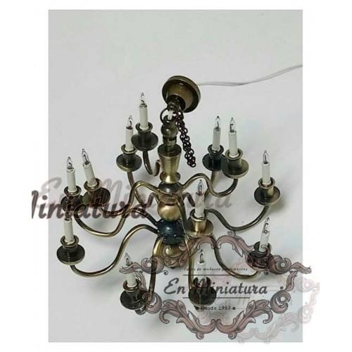 Lámpara de araña en bronce para casas de muñecas