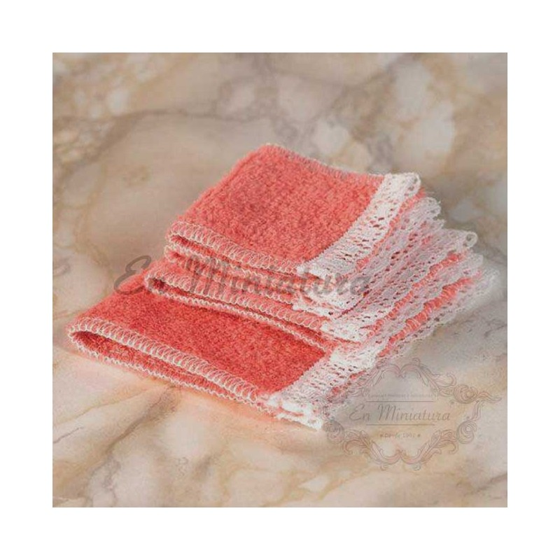Set of four towels, salmon