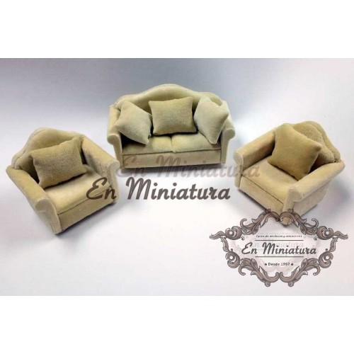 Velvet cream armchairs set