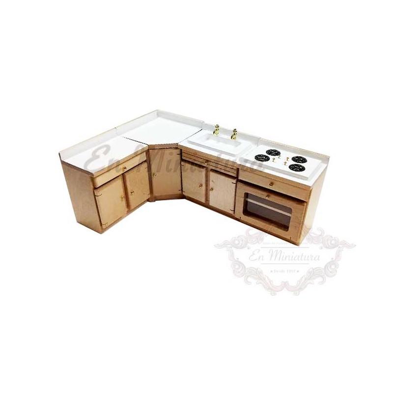 Muebles de cocina para casas de muñecas, cuatro módulos en madera