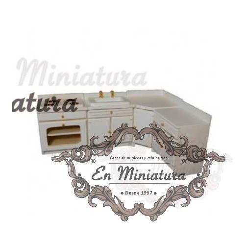 Kitchen furniture on white