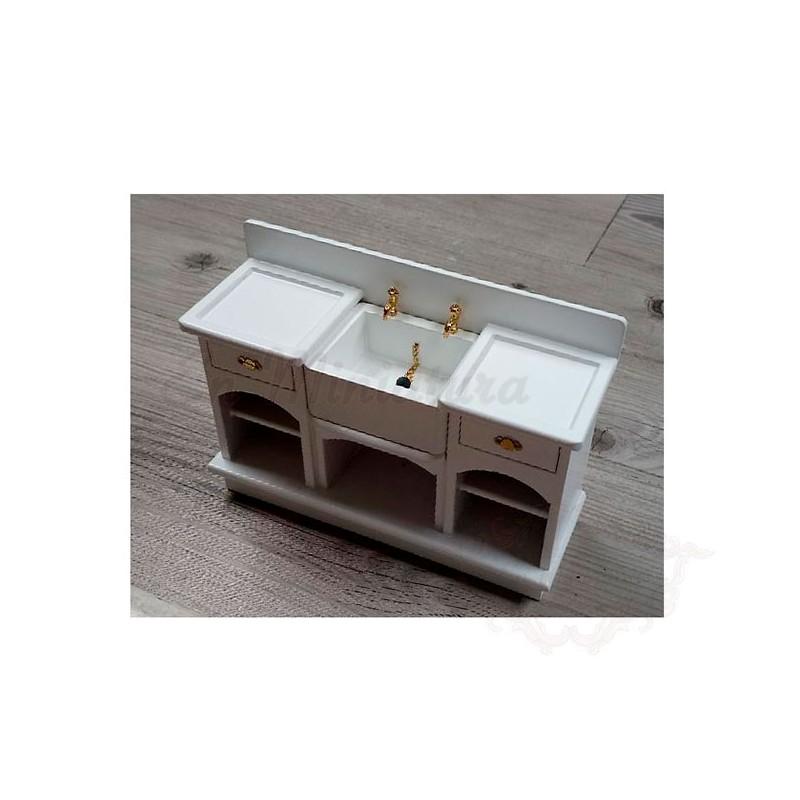 Muebles para casas de muñecas, muebles para decorar la cocina, Fregadero o  pila