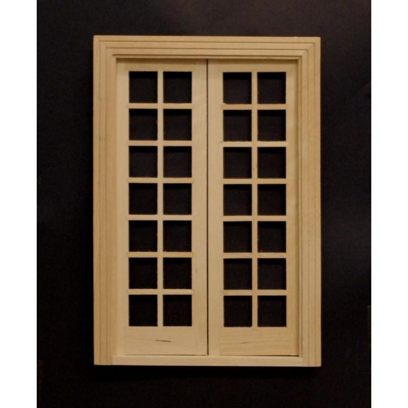 Comprar puertas para casa de muñecas. Puerta doble cristales, natural