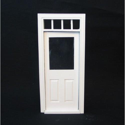 Puerta con cristal blanca de exterior