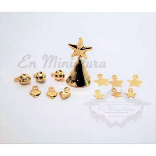 Golden hanging ornaments