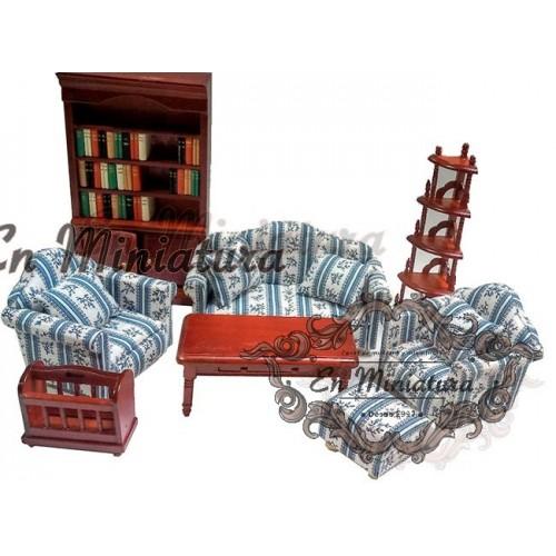 Conjunto muebles salón caobas