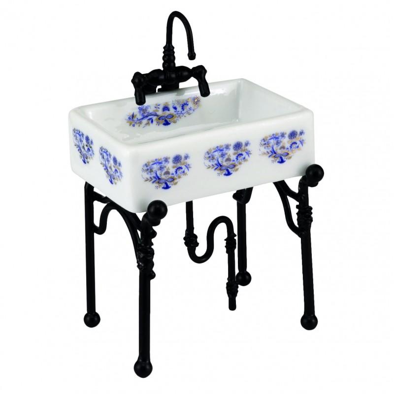 Lavabo porcelana Reutter, Azul