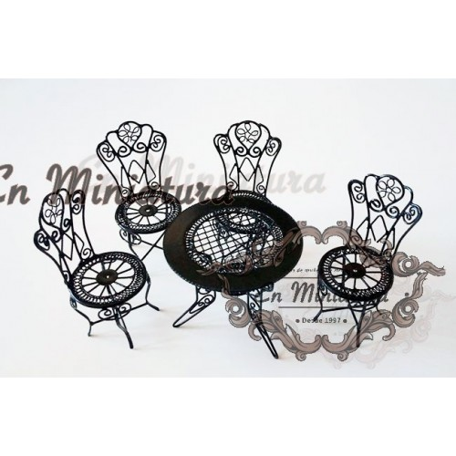 Conjunto mesas y sillas Jardín en negro