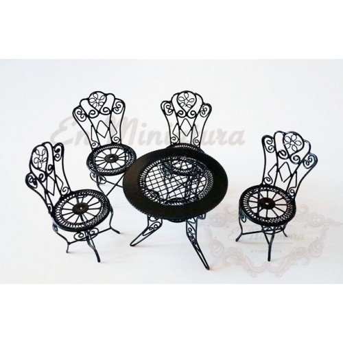 Set tables and chairs Garden in black