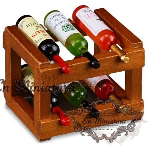 Botellero con botellas de vino