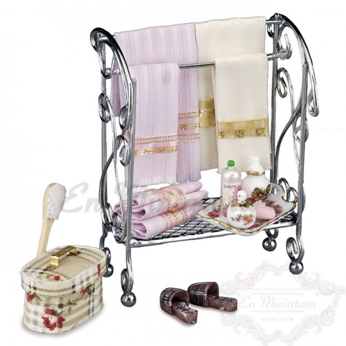 Towel rack with accessories